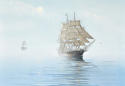 The whaler, Charles W. Morgan, maneuvering fog covered ocean. Link to Arthur Moniz Gallery Whaler Charles W. Morgan Prints Gallery 6