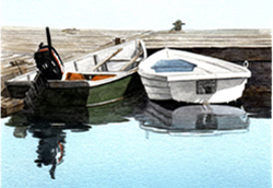 Two small motorboats nestled together at a dock. Link to Arthur Moniz Gallery Boat Prints Gallery 1