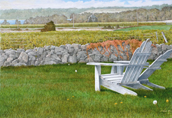 Two white arondack chairs sitting side by side overlooking marshland. Link to Arthur Moniz Gallery Coastal Scene Prints Gallery 4
