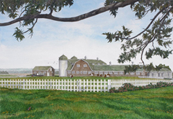 Gulf Hill Farms, large farmhouse with lush green pastures and surrounding white picket fence in South Dartmouth, MA.  Link to Arthur Moniz Gallery Fall River & Dartmouth Prints Gallery 17