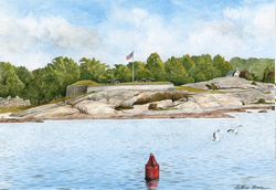 Small red bouy afloat in shoreline waters of Fort Pheonix in Fairhaven, MA. Link to Arthur Moniz Gallery New Bedford & Fairhaven Prints Gallery 18.