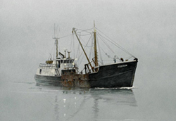 A well rigged black fishing boat making its way in a fog covered ocean. Link to Arthur Moniz Gallery Fishing Boats Prints Gallery 2