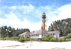Sanibel Island Light, on a white sand beach in Florida. Link to Arthur Moniz Gallery Florida & Japan Prints Gallery 14