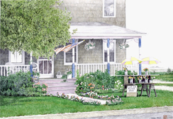 Large shingled house with farmers porch and table in front yard holding bunch of flowers offered for sale. Link to Arthur Moniz Gallery Garden & Floral Prints Gallery 10