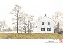 Friends Meetinghouse, a tall quaint white building nestled amongst leafless trees in fall in Acushnet, MA. Link to Arthur Moniz Gallery Marion & Acushnet Prints Gallery 20
