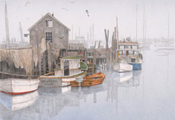 Quaint boat dock in the fog with docked boats in Menemsha, Martha's Vineyard. Link to Arthur Moniz Gallery Martha's Vineyard & Nantucket Prints Gallery 16