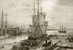 Pen and Ink rendering of New Bedford Harbor in the moonlight featuring a whaleship at the dock. Link to Arthur Moniz Gallery Pen & Ink Prints Gallery 15