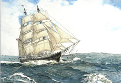 Whaling ship in full sail maneuvering rough waters. Link to Arthur Moniz Gallery Ocean Whalers Prints Gallery 3
