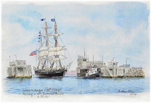 Charles W. Morgan Arriving in New Bedford Harbor